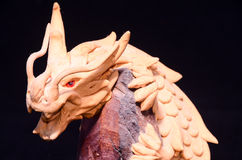 Wood Handmade Statuette of a Dragon Royalty Free Stock Images