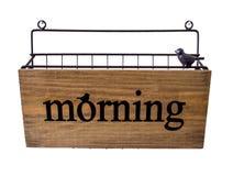 Wood hanged basket isolation on white. Wood hanged basket with word morning isolation on white background Stock Photo