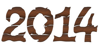 2014 From Wood. Happy New Year 2014 From Wood With Snowman and Santa Hat. Vector royalty free illustration