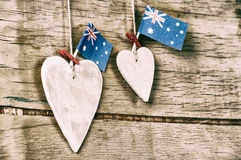 Wood heart and Australia flag Royalty Free Stock Photo