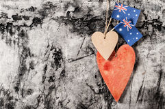 Wood heart and Australia flag Royalty Free Stock Images
