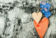 Wood heart and Australia flag Stock Images