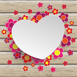 Wood Heart Flowers Royalty Free Stock Photos