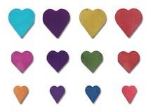 Wood Heart Set Stock Photography