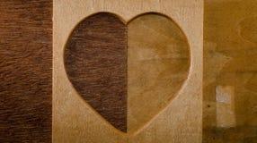 Wood heart shape frame Stock Photos