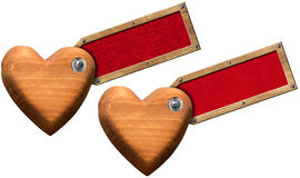 Wood Hearts with Label for Message Stock Photography