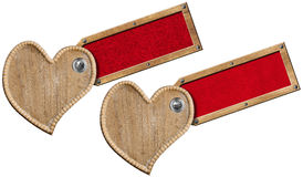 Wood Hearts with Label for Message Royalty Free Stock Photography