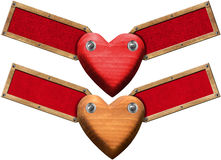 Wood Hearts with Labels for Message Royalty Free Stock Photo