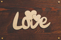 Wood hearts and love text Royalty Free Stock Photo