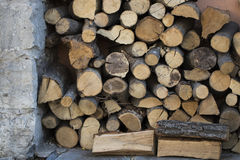 Wood for heating ovens stacked on each other Stock Images