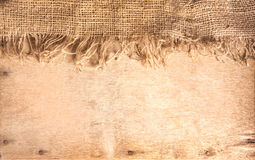Wood and hemp textile Royalty Free Stock Images