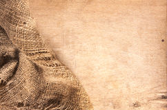 Wood and hemp textile Royalty Free Stock Photography