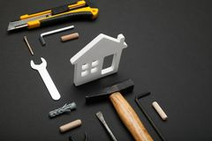 Wood home construction concept, house building diy.  royalty free stock photography