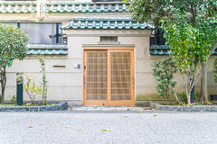 Wood home door - japanese style Royalty Free Stock Photo