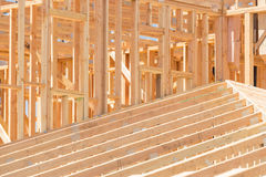 Wood Home Framing Abstract At Construction Site. royalty free stock images