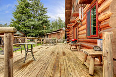 Wood horse farm cabin rustic deck. Stock Photos