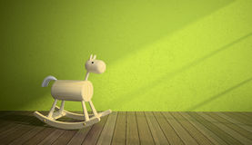 Wood horse in interior with green wall. 3D Stock Photo