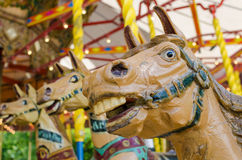 Wood horse carousel Stock Photos