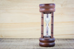 Wood hourglass countdown start Stock Image