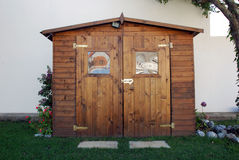Wood House. A small wood house in the garden Stock Photos