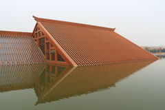 Wood house built on water Royalty Free Stock Photos