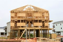 Wood house contruction, american wooden structure Stock Image