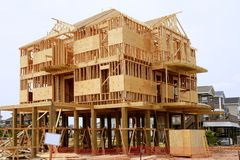 Wood house contruction, american wooden structure Royalty Free Stock Photography
