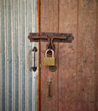 Wood house door lock Royalty Free Stock Photos