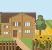 Wood house or farm sunflowers landscape. Vector facade flat style. S Stock Photos