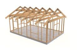 Wood house frame stock photo