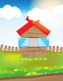 Wood house in grass field. Vector illustration wood house in grass field with cloud sun and grass Stock Photos