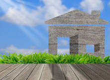 Wood house on green grass field in morning  sky,environm Stock Photo