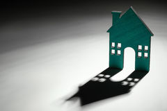 Wood house icon. With copy space stock images