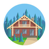 The wood house. The image of a log house in an environment of fir trees. Beautiful summer landscape. Vector background Vector Illustration