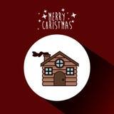 Wood house of Merry Christmas design. Wood houseicon. Merry Christmas season decoration figure theme. Colorful design. Vector illustration Stock Photography