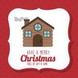 Wood house of Merry Christmas design. Wood houseicon. Merry Christmas season decoration figure theme. Colorful design. Vector illustration Royalty Free Stock Photo