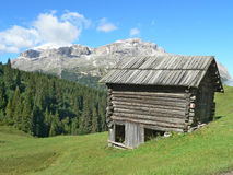 Wood house in mountain Stock Photography