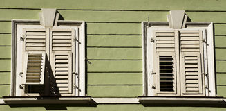 Wood house and shutters, Bolzano Italy royalty free stock photo
