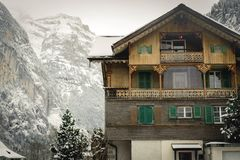 Wood house in Switzerland royalty free stock images