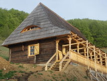 Wood House under construction Stock Photo