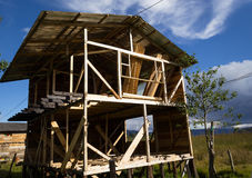 Wood house under construction. Structure of a wooden house unfinished. Taken near Pasto, south of Colombia Stock Images