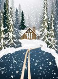 Wood house Winter snowy background fir trees. Road in the middle of the forest. Vector illustrations. Wood house Winter snowy background fir trees. Road in the Stock Images