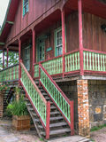 Wood house. Wooden house through the night stone base - Built by Italian immigrants, this century-old house is preserved in Gramado and historical heritage Stock Photo