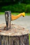 Wood hugga av yxa som klibbas i trädstubbe fotografering för bildbyråer