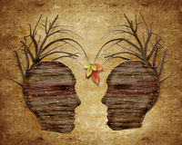 wood human head and leaves Royalty Free Stock Photography