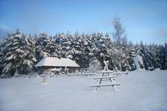 Wood hus i den felika skogen för snö, Lettland Royaltyfria Bilder