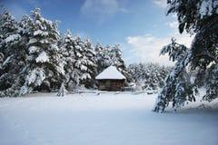 Wood hus i den felika skogen för snö, Lettland Arkivbilder