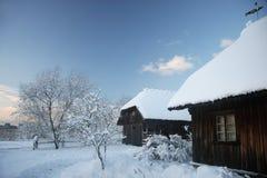 Wood hus i den felika skogen för snö, Lettland Royaltyfria Foton