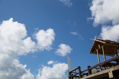 Wood hut with clear blue sky Royalty Free Stock Photo