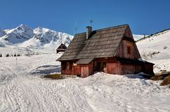 Wooden Hut in Mountains. Wooden hut in Gasienicowa Valley in Polish Tatra mountains, becomes a shelter if there is a need royalty free stock photos